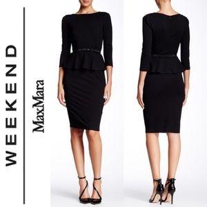 Weekend MaxMara Mirto Black Peplum Midi Dress XL